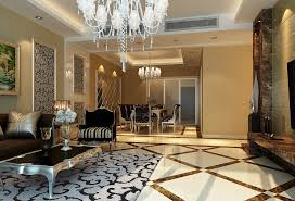 Living Room Interior Decorations Accessories Raised Ceiling Decor With Recessed Cove Lighting And Classic White Chandelier In Elegant