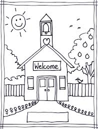Coloring Pages Of School House Detail Description