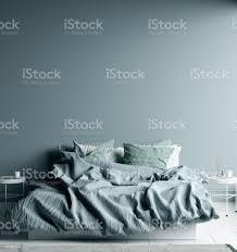 dunkel kalt blau schlafzimmer innen mit leinen blatt auf bett wand mock up stockfoto und mehr bilder banneranzeige