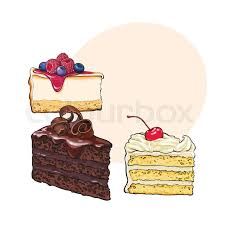 Hand drawn desserts pieces slices of cheesecake and layered vanilla cake sketch style vector illustration with space for text Realistic hand drawing of