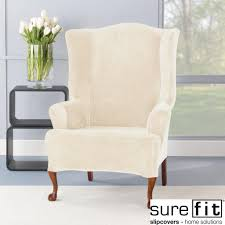 Stretch Suede Wing Chair Recliner Slipcover by Furniture Stretch Plush White Wingback Chair Slipcover With Cozy