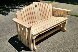 Wood Lawn Bench Plans by Handmade Wooden Porch Glider With Apple Design Porch Swing
