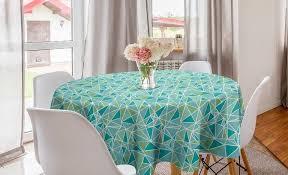 abakuhaus tischdecke kreis tischdecke abdeckung für esszimmer küche dekoration türkis aqua farbige dreiecke kaufen otto