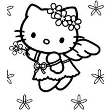 Free Printable Kitty An Angel Coloring Pages