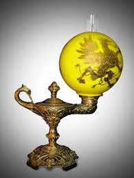 Antique Brass Aladdin Lamps by Lot 19th C Hanging Light Fixture Lot Number 1307 Starting