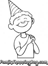 Boy With Birthday Hat Coloring Pages