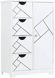 dictac badezimmerschrank badezimmer kommode 56 5x30x82 5 cm mit 4 schubladen 1tür weiß schrank badschrank anrichte mit einer verstellbare regal