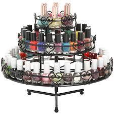 Amazon 3 Tier Wedding Cake Heart Design Rotating Metal Nail Polish Display Stand Organizer Rack Black