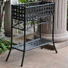 plant stand free standing patio plant shelf plans stand brown