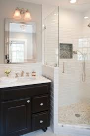 subway tile shower bathroom traditional with knobs black