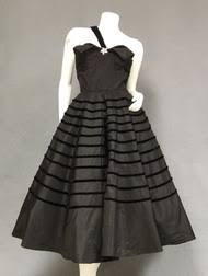 OUTSANDING One Shouldered Black Taffeta 1950s Cocktail Dress W Velvet