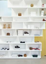 basement modern free standing red wooden multiple shelves storage