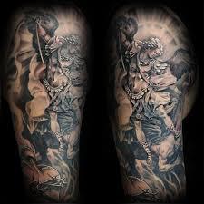 Mens Angel With Devil Catholic Half Sleeve Tattoo Designs