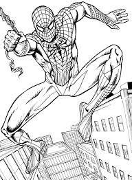 Realistic Jumping Spiderman Coloring Pages