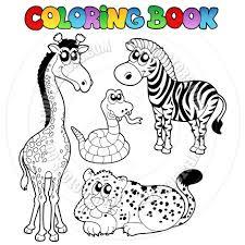 Cartoon Coloring Book African Animals