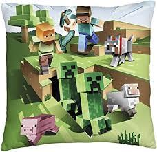 minecraft zweiseitiges kissen mit bauernhof motiv quadratisch perfekt für jedes kinderzimmer oder schlafzimmer