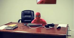spiderman sitting at desk meme maker david dror