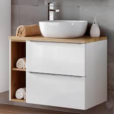 waschtisch unterschrank 80cm mit keramikbecken toskana 56 in hochglanz weiß mit wotaneiche b h t ca 81 74 5 46 cm