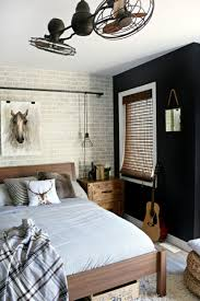 Boys Room Designs Faux Brick Panel Wall Industrial Pipes Across The And Cage Lights Are Perfect To