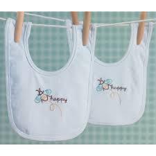 Martha Stewart Baby Bib Pair Stamped Embroidery KitBee Happy White Trim 2Pkg