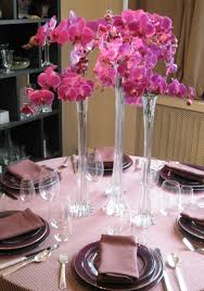 Tall Round Tapered Glass Flower Vase Including Purple Pink Orchid And White Wedding Centerpiece Light Stripe Table