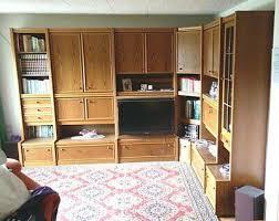 schrankwand für wohnzimmer eiche dunkel furnier 3 25m x 2