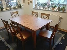 ikea tisch mit 6 stühlen antik gebeizt eur 190 00