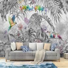 milusen tropische pflanze blume bunte vogel tapete dschungel