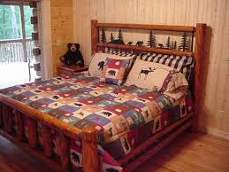 Rustic King Bed With Iron Headboard Insert