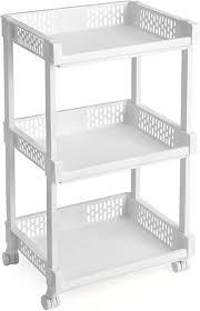 songmics rollwagen aus kunststoff allzweckwagen mit rollen für küche büro bad weiß mit 3 etagen 61 cm hoch ksc03wt