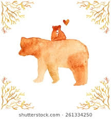 Vector Watercolor Illustration With Brown Mother Bear And Her BabyGreeting Card For