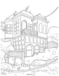 Quiet Street Corner Coloring Page