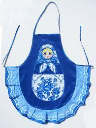 100 Matryoshka Kitchen Blue Apron Babushka Colored Russian Doll Style Made In Russia