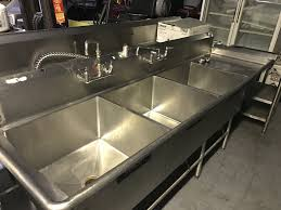used used 3 three compartment sink with right drainboard 2