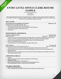 Entry Level Office Clerk Resume