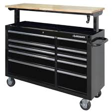 husky 52 in 10 drawer mobile workbench with adjustable height top