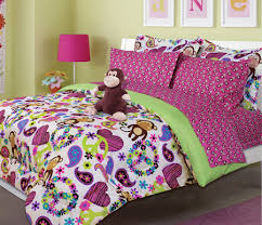 Hot Pink & Green Peace Sign Hearts Monkey Girl Bedding Twin or