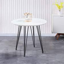 goldfan esstisch weiß küchentisch modern klein wohnzimmertisch rund matt tischplatte mit schwarz beine für büro küche 80x80x75cm