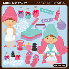 Girls Spa Party Cliparts Comes With 19 Graphics Including 2 Little Wrapped In A Towel Robe 1 3 Nail Polish Bottles Perfume Bottle