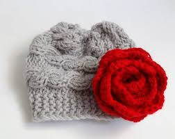 Baby hat Knit Cable Girl Hat Newborn ing Home Girl flower hat