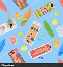 From Above Summer People In Swimming Pool Summertime With Citrus Lemon Umbrellas Towels And Sunbeds Cartoon Vector Illustration By