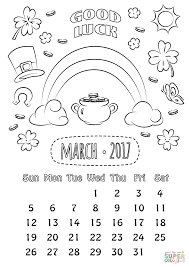 Click The March 2017 Calendar Coloring Pages To View Printable Version Or Color It Online Compatible With IPad And Android Tablets