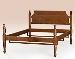 Tulip Low Post Bed Cherry Wood Queen Size Bed Frame American