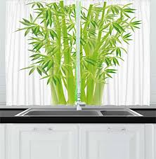 LIME GREEN Exotic Kitchen Curtains By Ambesonne Bamboo Stems With Leaves Spiritual Fresh Bunch Tropical Plant Eco