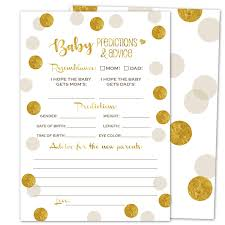 Gooji Baby Shower Prediction And Advice Card Games 50Pack Gold Themed Play Charts HighQuality Cardstock Rich Colors And Graphics Fun