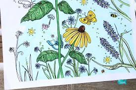 Butterfly Garden Coloring Page For Adults Flowers