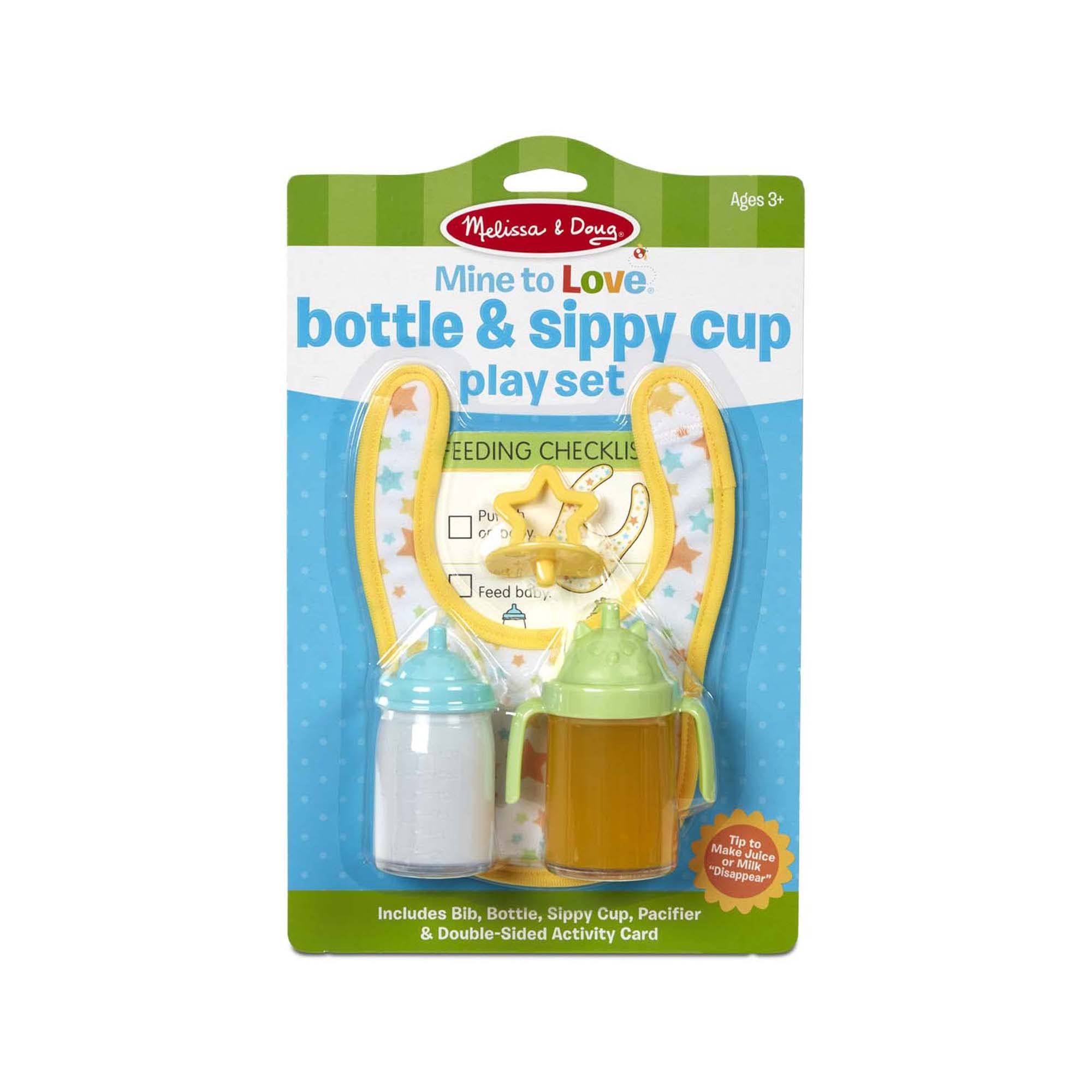 Melissa Doug Mine to Love Bottle Sippy Cup Play Set – Disappearing Liquid, Bib, Pacifier, Activity Card
