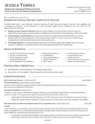 Teaching Resumes Samples Substitute Teacher Resume Examples For Teachers With No Experience Pdf