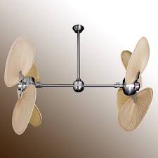 Ceiling Fan With Palm Leaf Blades by Twin Star Iii Double Ceiling Fan Brushed Steel With 13 Blade Options
