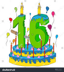 16 Birthday Cake Number Sixteen Candle Stock Vector